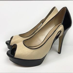 Marc Fisher Tumble Straw Cutout Stiletto Heels 9.5